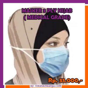 Masker 3 ply hijab biasa biru grade medical
