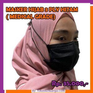 Masker 3 Ply 3ply Hijab Headloop Hitam Grade Medical Isi 10