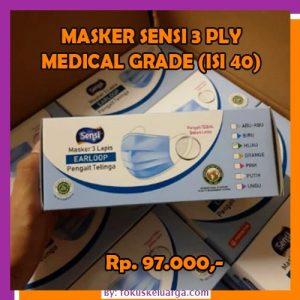 Masker SENSI 3 Ply 3ply Earloop Warna Biasa Hijau Isi 40