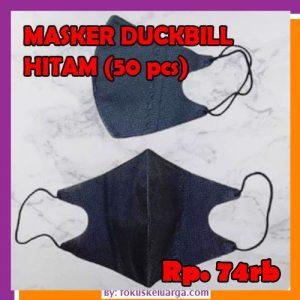 Masker Duckbill 3 Ply Premium Medical Grade Setara 5 Ply Warna Hitam Merk i-Care Isi 50