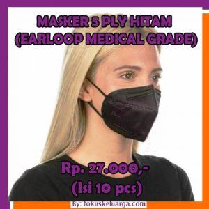 Masker 5 Ply 5ply KN95 Hitam Black Kategori Medis Isi 10