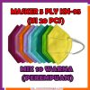 masker 5 ply 5ply kn95 kn 95 mix warna warni campur pelangi rainbow cewek