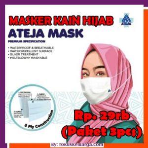 Masker Kain Hijab Dewasa 3 Ply 3ply Ateja Paket Isi 3